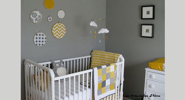 Le jaune dans une chambre de bébé