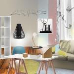 Planche mobilers aux couleurs pastelles d'une chambre pour sage adolescente.